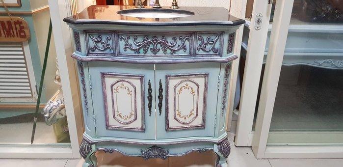 歐式浴櫃 歐式古典巴洛克大理石洗臉台櫃