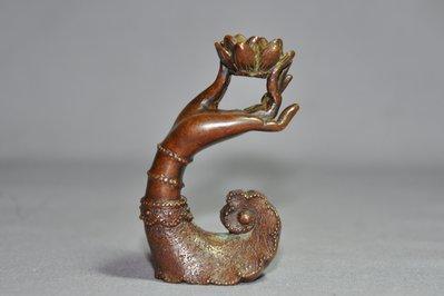 【緣古】老件 銅雕 蓮花手香插