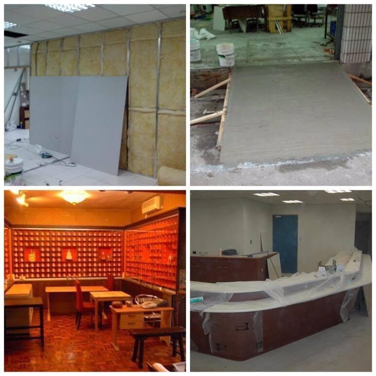 辦公室.隔間.隔音.防火.輕鋼架.天花板.木工裝潢.油漆.拆除清運. 土木工程泥工.泥作.房屋裝修.油漆粉刷