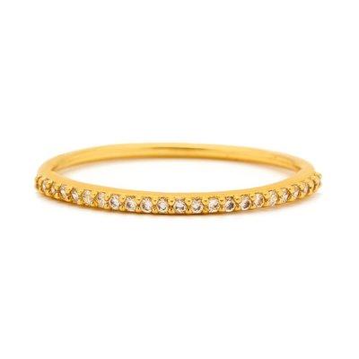 Gorjana 平衡骨 細緻白鑽 金色細版戒指 Shimmer Bar Ring