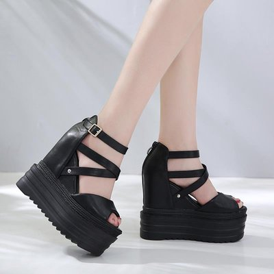 歐美白色夜店dj酒吧ds演出鞋子15cm坡跟超高跟厚底防水臺女涼鞋子