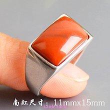 Little-luck~天然南紅925純銀鑲嵌玉戒指霸氣男款南紅戒指情侶求婚銀鑲玉戒指