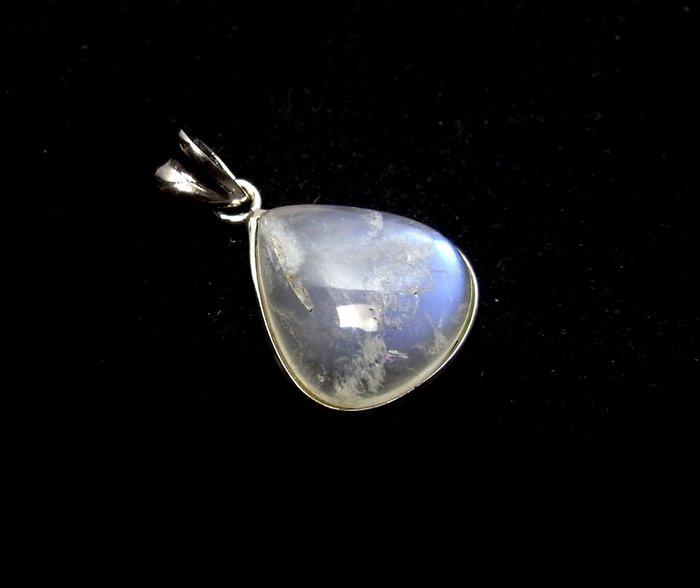 小風鈴~天然頂級手工925銀包框泛藍光月光石墜~2.4g