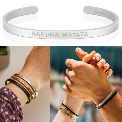 MANTRABAND 美國悄悄話手環 Hakuna Matata 無憂無慮 消光銀 寬版 男款