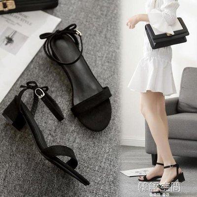 小清新夏粗跟5cm蝴蝶結一字扣帶矮跟低跟3cm小碼女涼鞋33