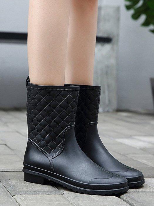 999中筒雨鞋女雨靴成人防滑膠鞋水靴加絨平底套鞋防水鞋時尚水鞋YC0310