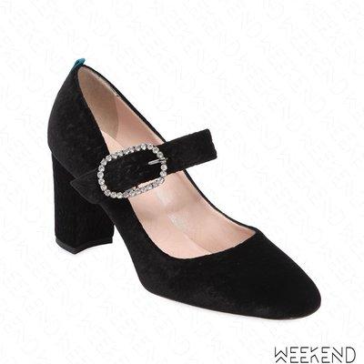 【WEEKEND】 Sarah Jessica Parker SJP Austen 絲絨 鑲鑽 高跟鞋 黑色