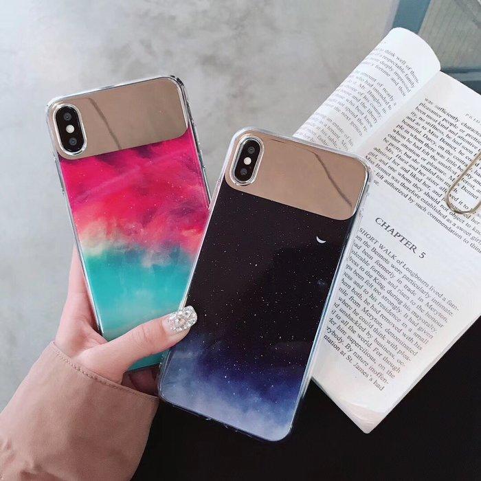 千夢貨鋪-星空個性補妝鏡8plus蘋果x手機殼XS Max/XR/iPhoneX/7plus情侶6sp