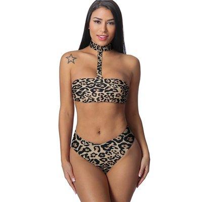 泳衣欧美火辣性感豹纹点抹胸半包臀脖圈款式比基尼女士泳衣bikini泳装