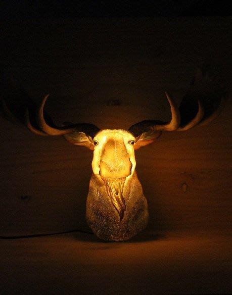 (I LOVE樂多)日本進口 鹿頭造型壁飾掛燈 咖啡吧/酒吧告示 打造居家/車庫裝飾情境自己來