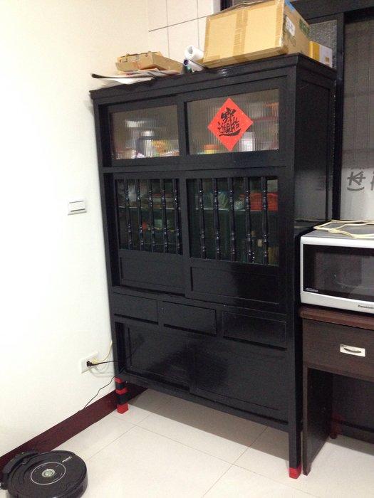 古董 原木 碗盤櫥櫃 (黑色)