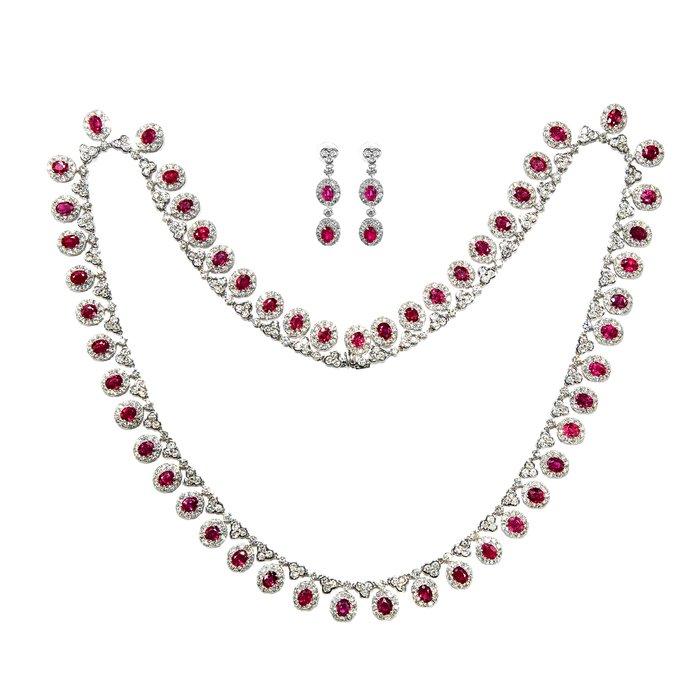 【JHT金宏總珠寶/GIA鑽石專賣】14.51克拉天然紅寶套鍊 耳環 套組/材質:18K(JB46-A15)
