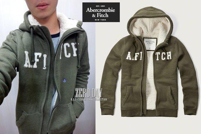 零時差A&F真品Abercrombie&Fitch Sherpa Lined Hoodie熊寶寶毛字母貼布連帽外套-軍綠
