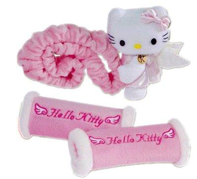 【卡漫迷】 Hello Kitty 後視鏡 把手 護套 粉色 ㊣版 可伸縮 後照鏡 天使 絨毛 玩偶娃娃 汽車飾品 車用