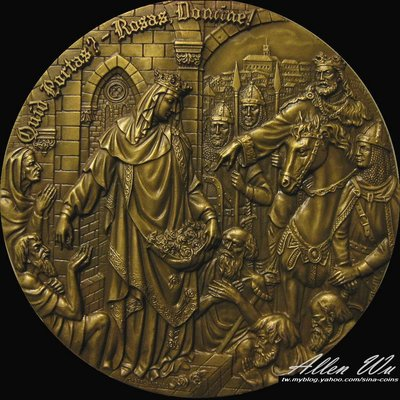 極美!! 聖伊莎貝爾女王的派對 (科英布拉)-葡萄牙高浮雕大銅章 [龍薈集藏]