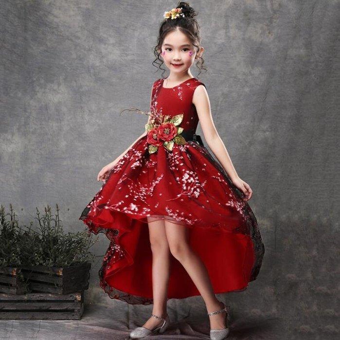 花童禮服 新款女童年會拖尾公主裙蓬蓬裙 兒童鋼琴燕尾演出服 花童禮服 尾牙禮服 洋裝 生日禮物—莎芭