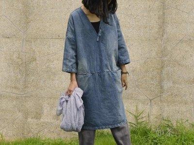 【如茶】中國風服飾/ 民族風/ 田園風/ 簡約寬鬆盤釦水洗做舊牛仔連身裙-推薦