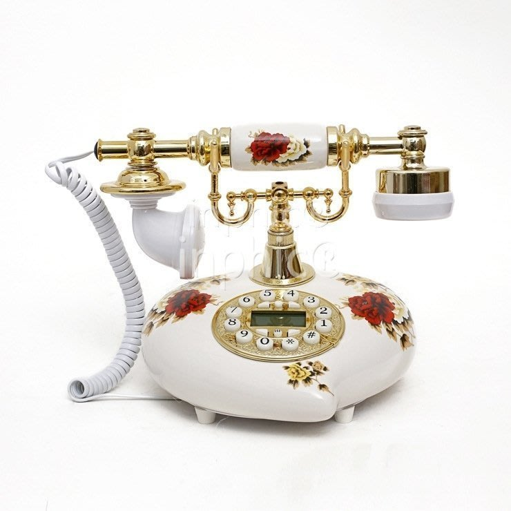 INPHIC-美式鄉村田園陶瓷有繩電話機 創意仿舊工藝座式電話