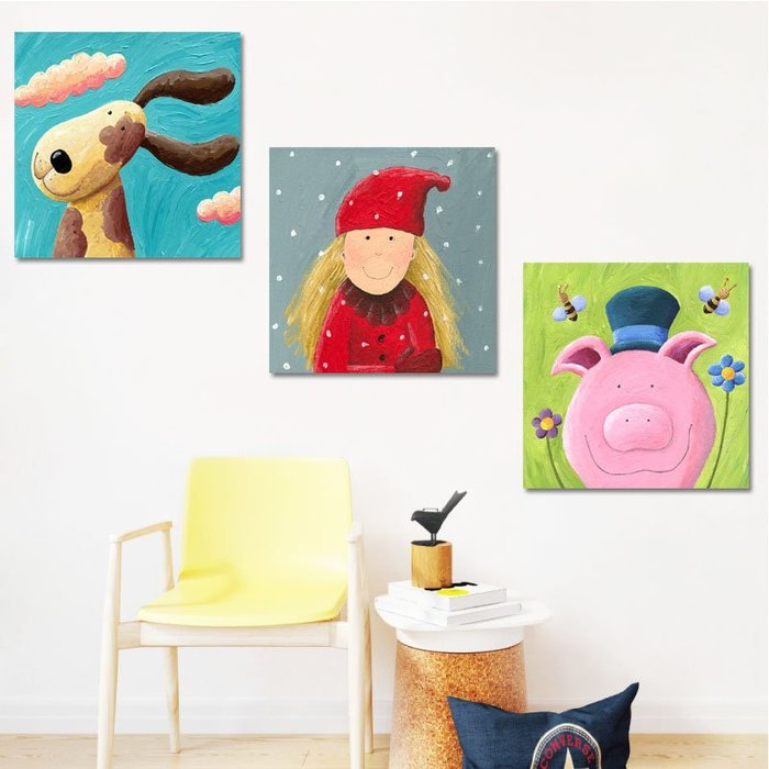 掛畫 壁畫 兒童房裝飾畫女孩臥室床頭掛畫現代簡約可愛卡通男孩幼兒園墻壁畫