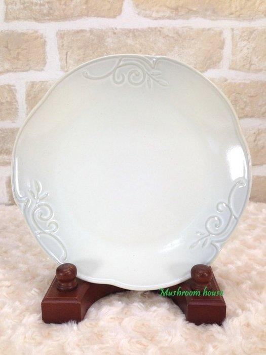 點點蘑菇屋 義大利WALD經典立體雕花大地色系列手繪高溫陶瓷21公分(天空灰/白色)點心盤 水果盤 晚餐盤 現貨