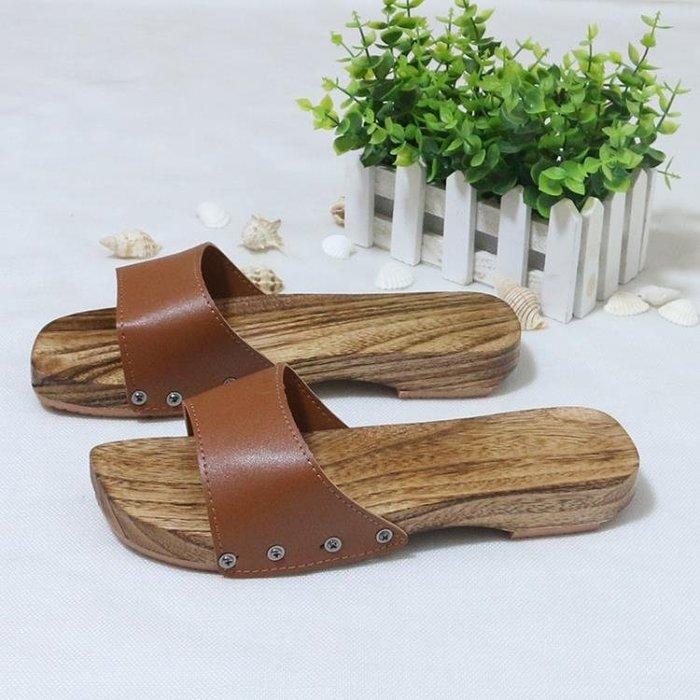 夏季日式木屐女 低跟木拖鞋 日常居家人字木屐鞋 (潮人街)