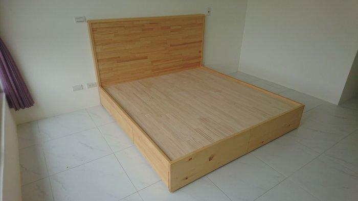 【森林原木手工家具】原木雙人收納式床架