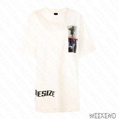 【WEEKEND】 JUUN.J Synthesize 刺繡 印圖 寬鬆 長版 短袖 T恤 可當短洋 白 19秋冬