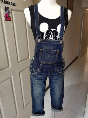 日本109潮牌moussy修身顯瘦刷舊連身吊帶七分褲(sly ASOS top shop )