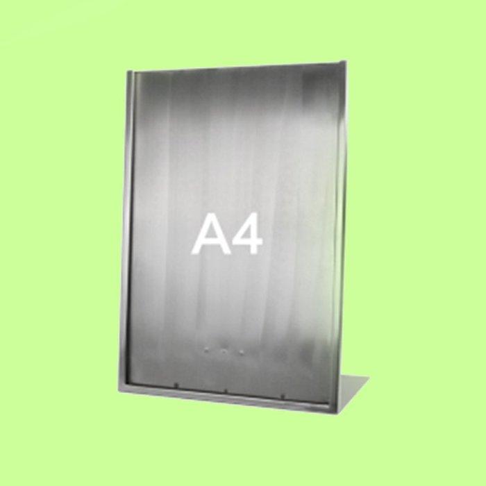 5Cgo【含稅】L型廣告牌黑色金銀色A4桌牌不鏽鋼價格牌專櫃台牌A3海報架子POP展示架含亞克力板16209415507