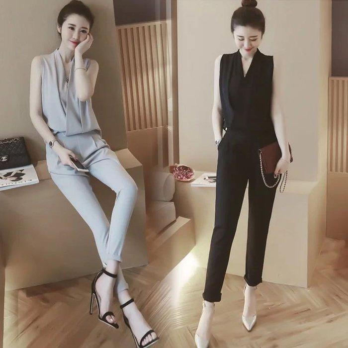 韓版OL連結式套裝無袖襯衫上衣闊腿褲連身褲