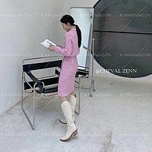 C位大長腿/韓國製CHEVALIER ZENN時髦百搭超修飾拉鍊配飾明線設計弧形V口套腳中粗跟尖頭騎士靴 長靴 機車靴