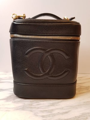 【RECOVER 名品二手】CHANEL 黑色金鍊化妝包 化妝箱 老香 附背帶 古董包 Vintage