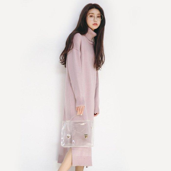 【17LOVE】現貨 正韓空運 熱賣新款 高領保暖 寬鬆長版開衩 針織衫 上衣 毛衣 百搭 洋裝 黑棕灰紫粉綠