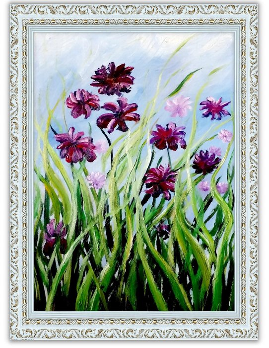 {Art city}手繪創作油畫~紫色鳶尾花 40*60CM ~~ 含內框可直接懸掛(實品拍攝)