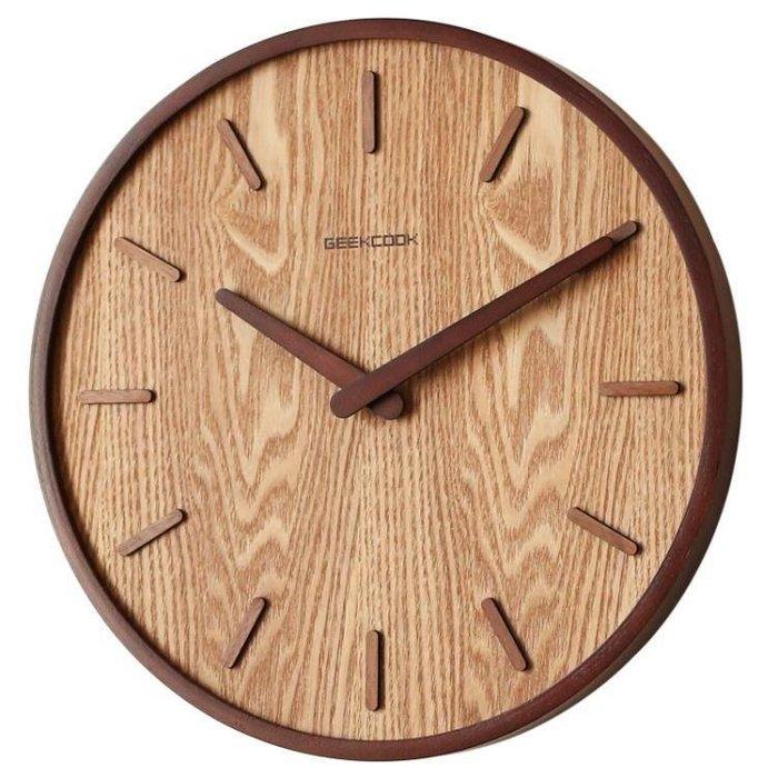 YEAHSHOP 14英寸日式家用靜音掛鐘客廳臥室簡約現代裝飾掛錶木質石英鐘圓形Y185