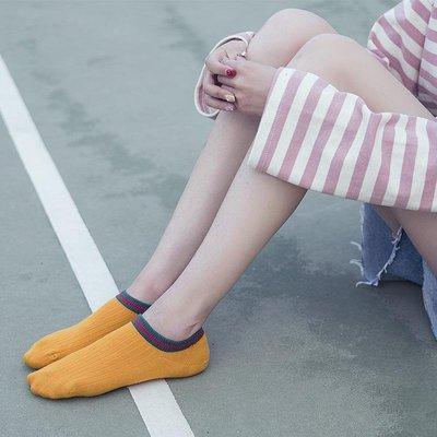5雙夏天薄款淺口隱形船襪女硅膠防滑不掉根韓國可愛短襪條紋低幫