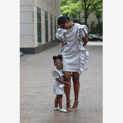 寶島小甜甜~Women's stripes large ruffled cuff skirt parent-child dress