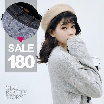 超哥小舖【A8003】氣質可愛百搭羊毛純色貝雷帽冬天保暖針織羊毛呢帽