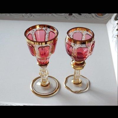 捷克波西米亞 Moser古董手工水晶杯 x 2