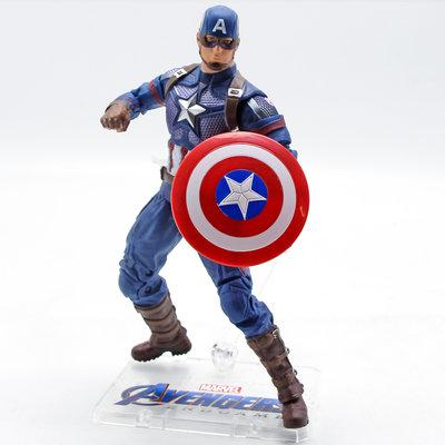 中動漫威復仇者聯盟美國隊長手辦盾牌玩具超可動人偶擺件模型周邊*可魯可丫