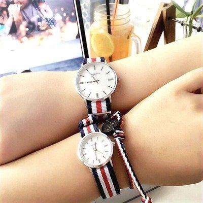 超值套組 韓版 時尚北約NATO簡約風格 輕巧無重量設計 帆布錶帶情侶對錶+WITH ICE 愛心公益同款手環