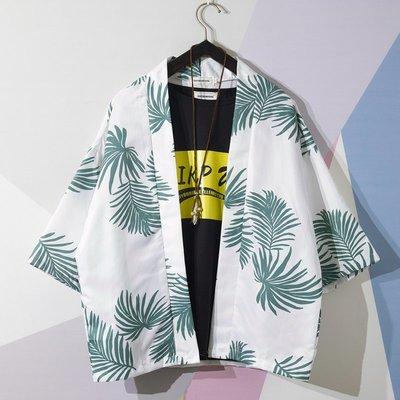 外套 春夏薄款 夾克 牛仔外套夏季日系七分袖浮世繪道袍和服寬松潮流ins襯衣中國風潮牌外套男