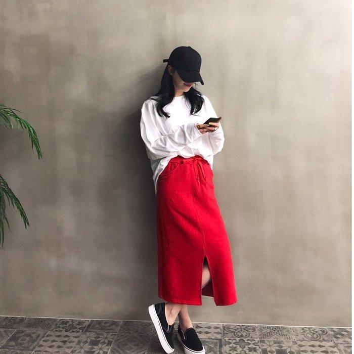 N9韓國【正韓】抽繩鬆緊下開衩棉長窄裙 黑,紅【03.06】Carrie Lee 韓國代購-N9768