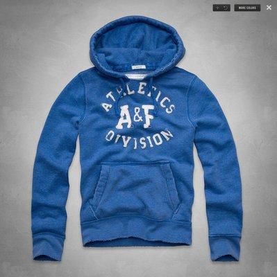 ☆瘋米國衣舖☆ 台中正品專賣 全新現貨 Abercrombie A&F AF 男生貼布連帽T 藍色