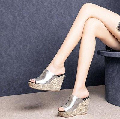 Fashion*真皮藤編坡跟涼鞋 牛筋...