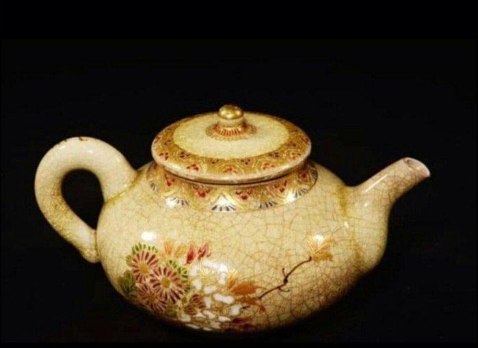 天使熊雜貨小舖~日本古美術薩摩急須 (花.草)裂紋釉小茶壺  尺寸:直徑約5.5cm 現貨