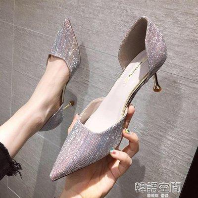 [免運]高跟鞋2019新款法式少女細跟...
