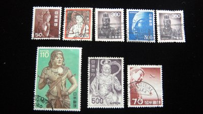 【大三元】日本郵票-3.神像系列-銷戳票-8枚