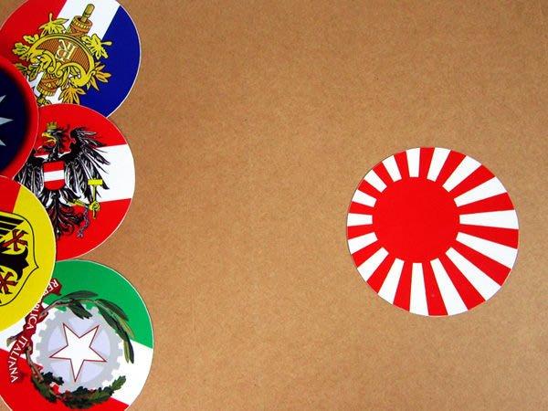 【國旗貼紙專賣店】太陽旗圓形旅行箱貼紙/抗UV防水/古日本自衛軍艦旗/多國款可客製