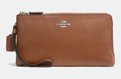 美國代購[COACH] DOUBLE zip polished pebble leather wallet